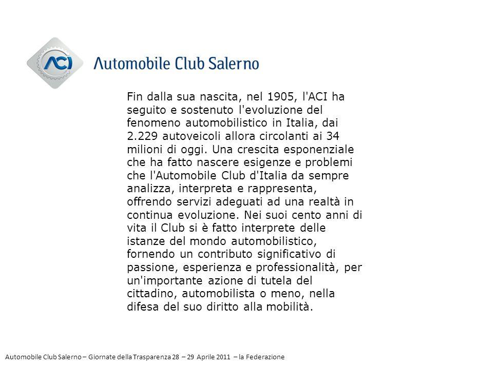 Fin dalla sua nascita, nel 1905, l'ACI ha seguito e sostenuto l'evoluzione del fenomeno automobilistico in Italia, dai 2.229 autoveicoli allora circol