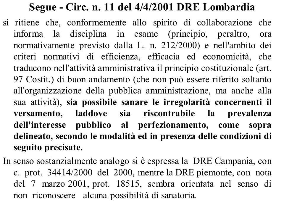 Segue - Circ. n. 11 del 4/4/2001 DRE Lombardia si ritiene che, conformemente allo spirito di collaborazione che informa la disciplina in esame (princi