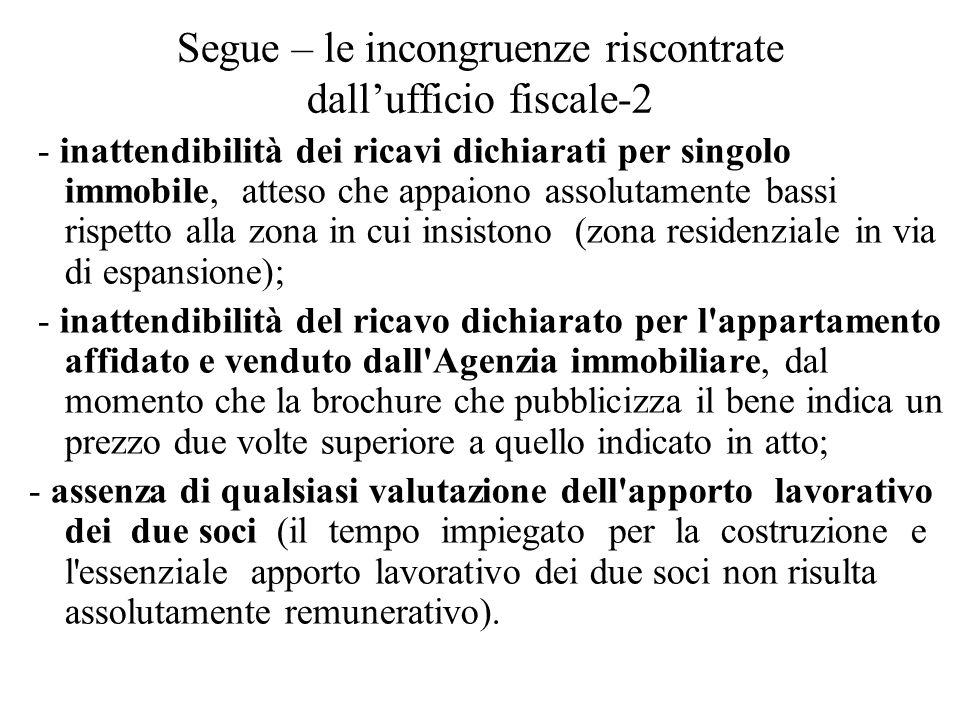 Segue – le incongruenze riscontrate dall'ufficio fiscale-2 - inattendibilità dei ricavi dichiarati per singolo immobile, atteso che appaiono assolutam