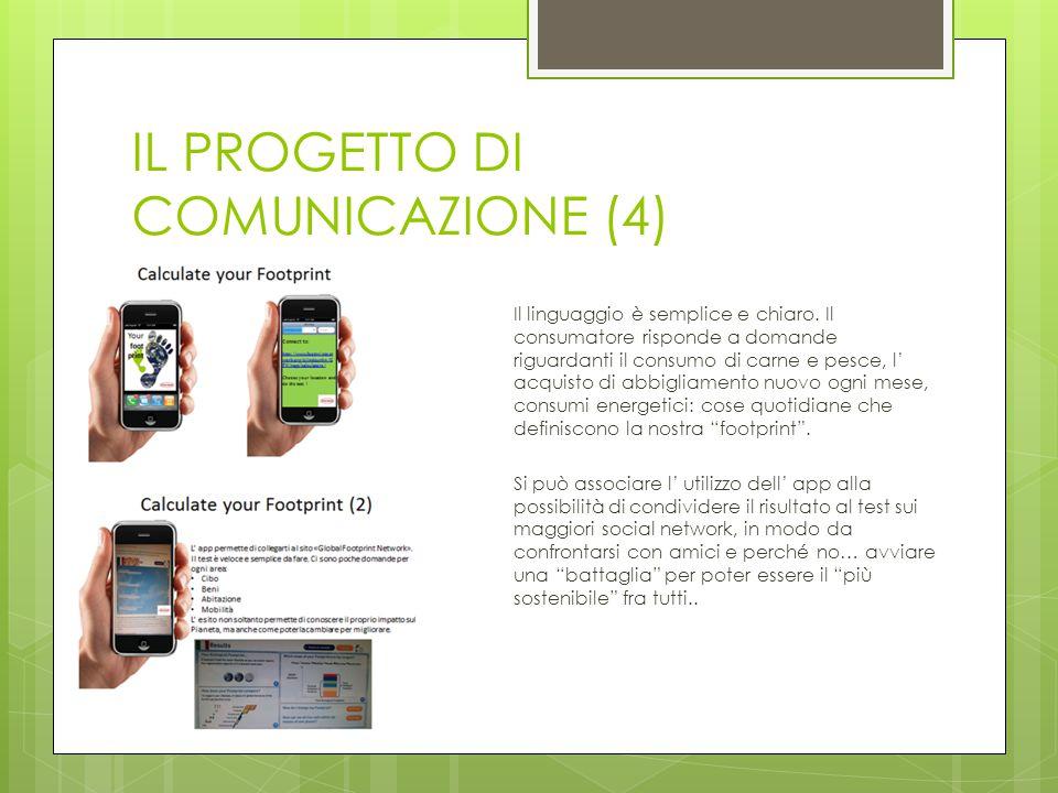 IL PROGETTO DI COMUNICAZIONE (4) Il linguaggio è semplice e chiaro. Il consumatore risponde a domande riguardanti il consumo di carne e pesce, l' acqu