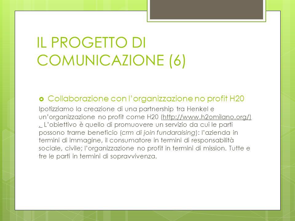IL PROGETTO DI COMUNICAZIONE (6)  Collaborazione con l'organizzazione no profit H20 Ipotizziamo la creazione di una partnership tra Henkel e un'organizzazione no profit come H20 (http://www.h2omilano.org/).