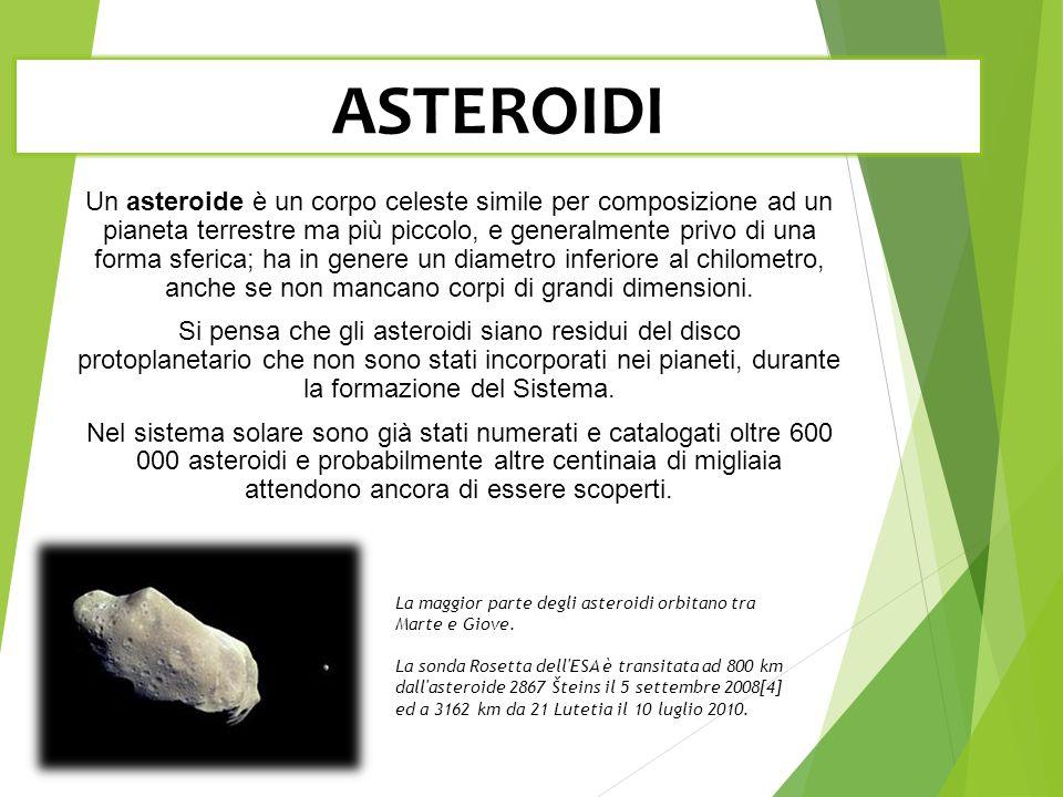 ASTEROIDI Un asteroide è un corpo celeste simile per composizione ad un pianeta terrestre ma più piccolo, e generalmente privo di una forma sferica; ha in genere un diametro inferiore al chilometro, anche se non mancano corpi di grandi dimensioni.