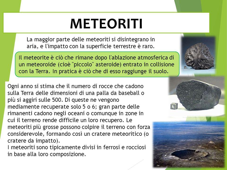 METEORITI Il meteorite è ciò che rimane dopo l ablazione atmosferica di un meteoroide (cioè piccolo asteroide) entrato in collisione con la Terra.