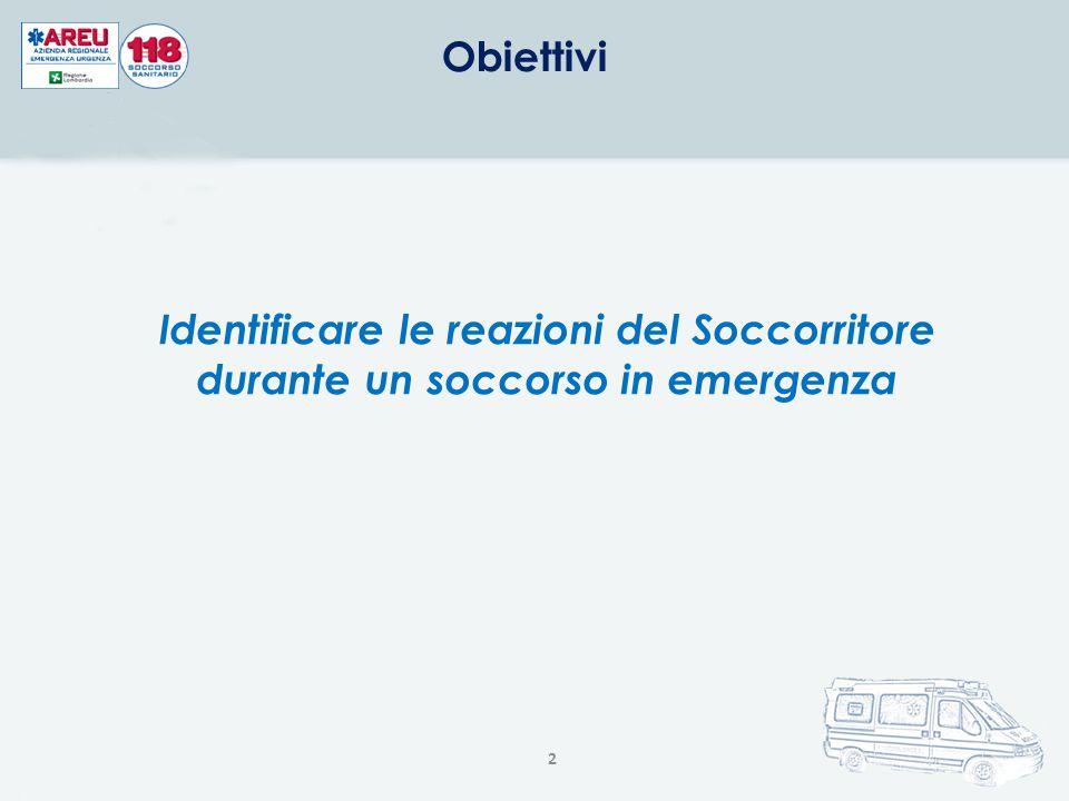 2 Obiettivi Identificare le reazioni del Soccorritore durante un soccorso in emergenza