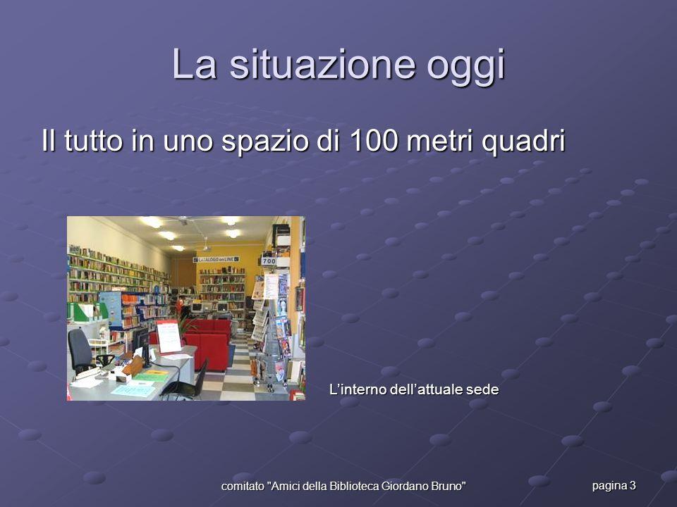 pagina 3 comitato Amici della Biblioteca Giordano Bruno La situazione oggi Il tutto in uno spazio di 100 metri quadri L'interno dell'attuale sede