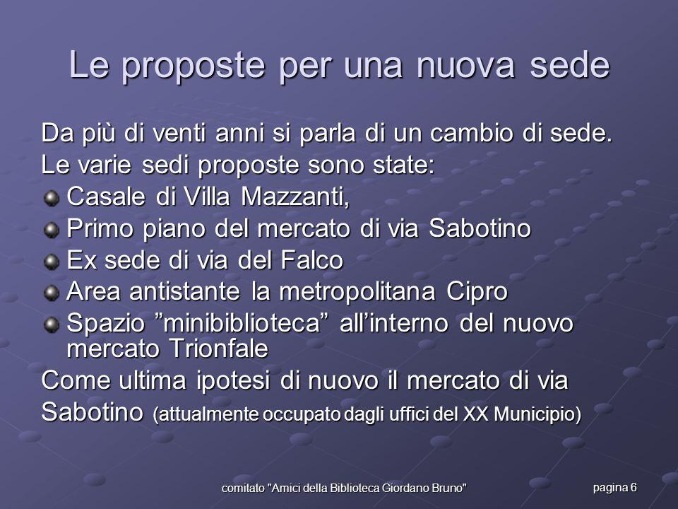 pagina 6 comitato Amici della Biblioteca Giordano Bruno Le proposte per una nuova sede Da più di venti anni si parla di un cambio di sede.