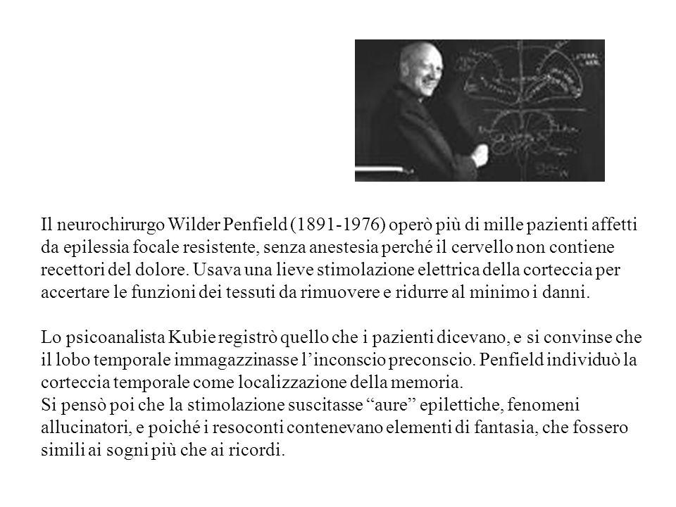 Il neurochirurgo Wilder Penfield (1891-1976) operò più di mille pazienti affetti da epilessia focale resistente, senza anestesia perché il cervello non contiene recettori del dolore.