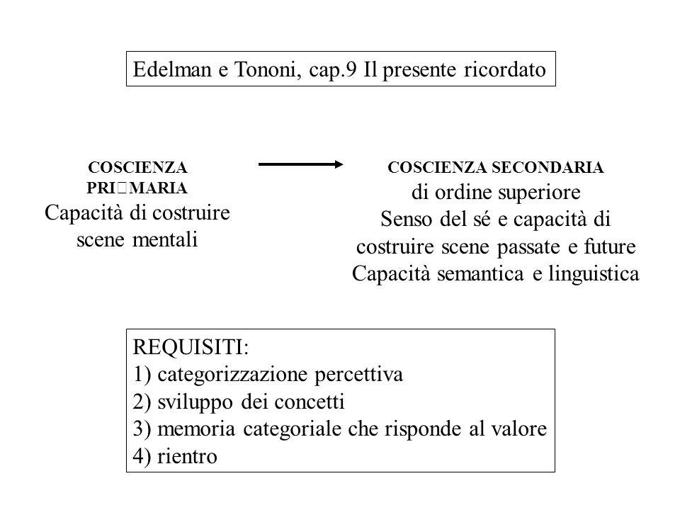 Edelman e Tononi, cap.9 Il presente ricordato COSCIENZA PRIMARIA Capacità di costruire scene mentali COSCIENZA SECONDARIA di ordine superiore Senso de