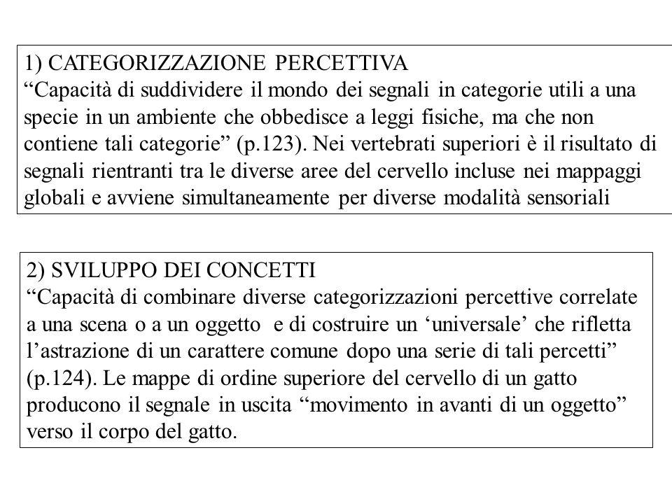 1) CATEGORIZZAZIONE PERCETTIVA Capacità di suddividere il mondo dei segnali in categorie utili a una specie in un ambiente che obbedisce a leggi fisiche, ma che non contiene tali categorie (p.123).