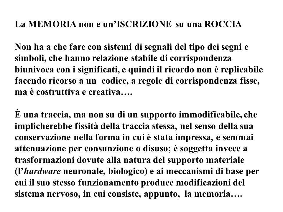 La MEMORIA non e un'ISCRIZIONE su una ROCCIA Non ha a che fare con sistemi di segnali del tipo dei segni e simboli, che hanno relazione stabile di cor