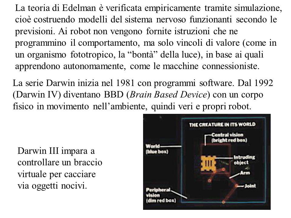 La serie Darwin inizia nel 1981 con programmi software. Dal 1992 (Darwin IV) diventano BBD (Brain Based Device) con un corpo fisico in movimento nell'