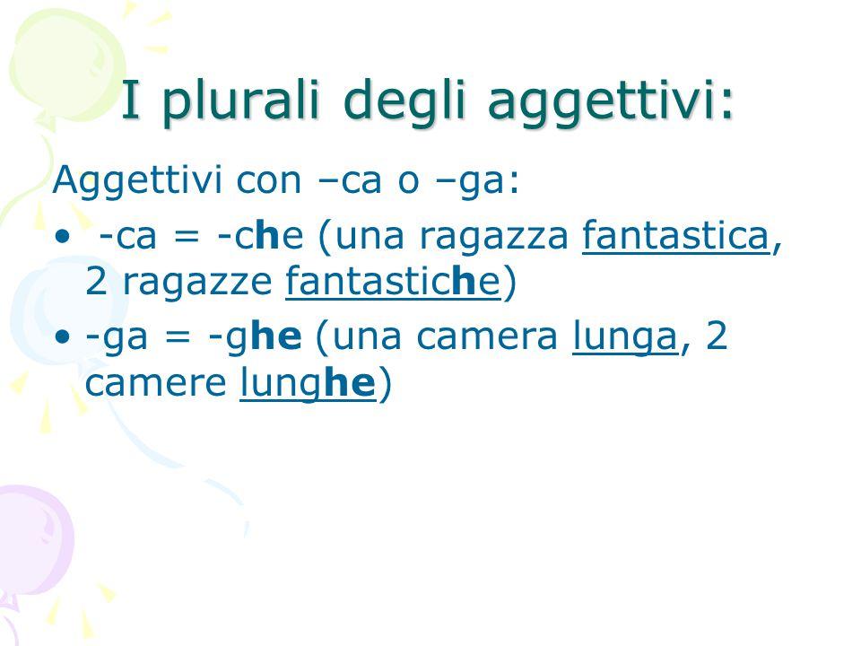I plurali degli aggettivi: Aggettivi con –ca o –ga: -ca = -che (una ragazza fantastica, 2 ragazze fantastiche) -ga = -ghe (una camera lunga, 2 camere