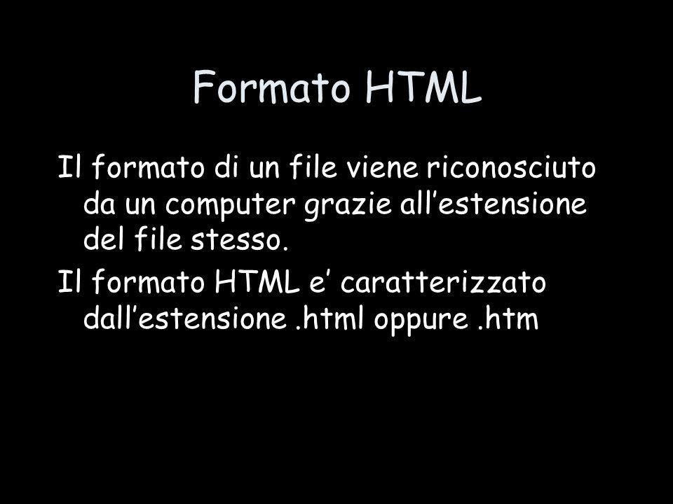 Formato HTML Il formato di un file viene riconosciuto da un computer grazie all'estensione del file stesso. Il formato HTML e' caratterizzato dall'est