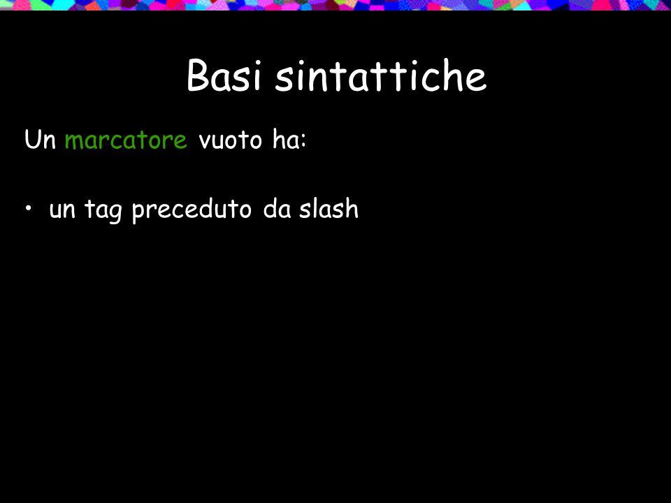 Basi sintattiche Un marcatore vuoto ha: un tag preceduto da slash