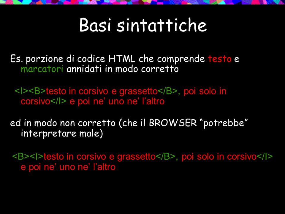 Basi sintattiche Es. porzione di codice HTML che comprende testo e marcatori annidati in modo corretto testo in corsivo e grassetto, poi solo in corsi