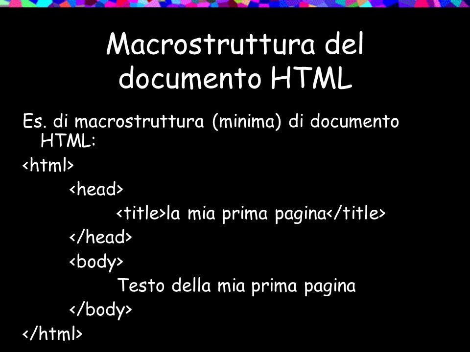 Macrostruttura del documento HTML Es. di macrostruttura (minima) di documento HTML: la mia prima pagina Testo della mia prima pagina