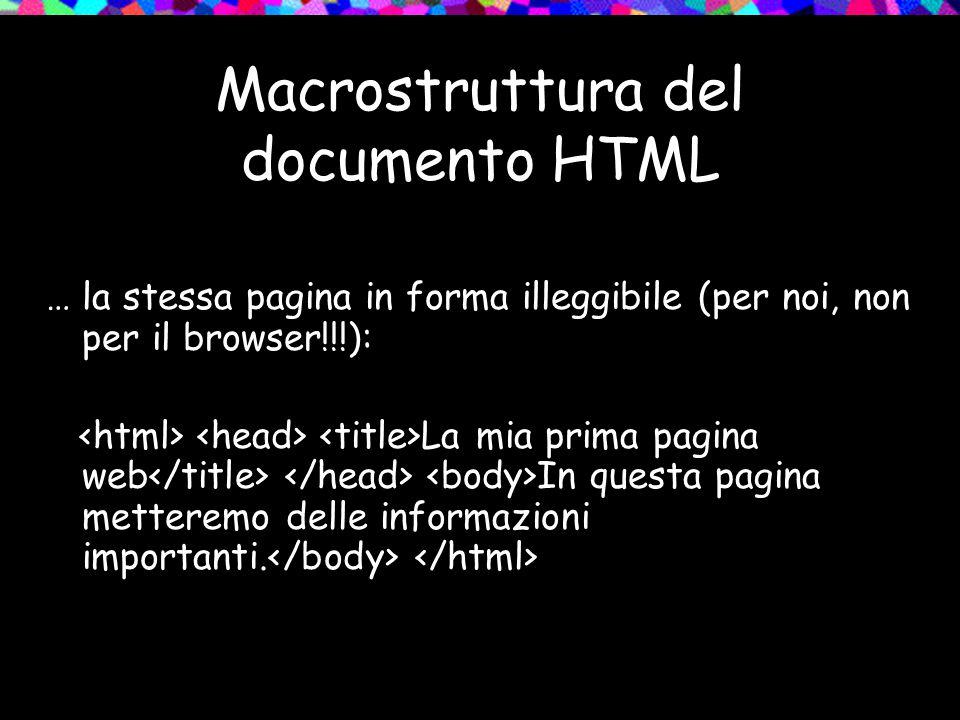 Macrostruttura del documento HTML … la stessa pagina in forma illeggibile (per noi, non per il browser!!!): La mia prima pagina web In questa pagina m