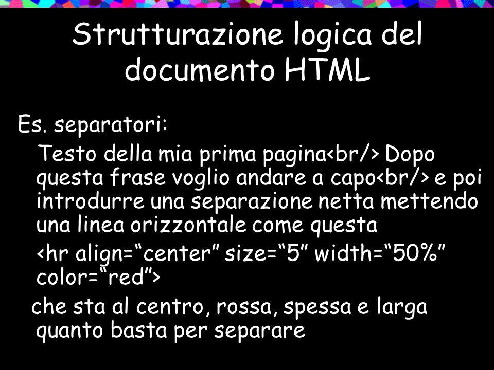Strutturazione logica del documento HTML Es.