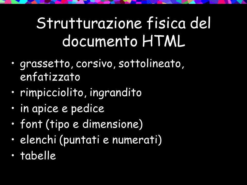 Strutturazione fisica del documento HTML grassetto, corsivo, sottolineato, enfatizzato rimpicciolito, ingrandito in apice e pedice font (tipo e dimensione) elenchi (puntati e numerati) tabelle
