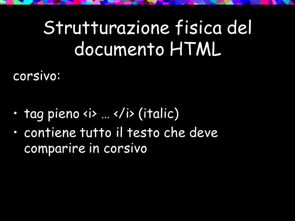 Strutturazione fisica del documento HTML corsivo: tag pieno … (italic) contiene tutto il testo che deve comparire in corsivo
