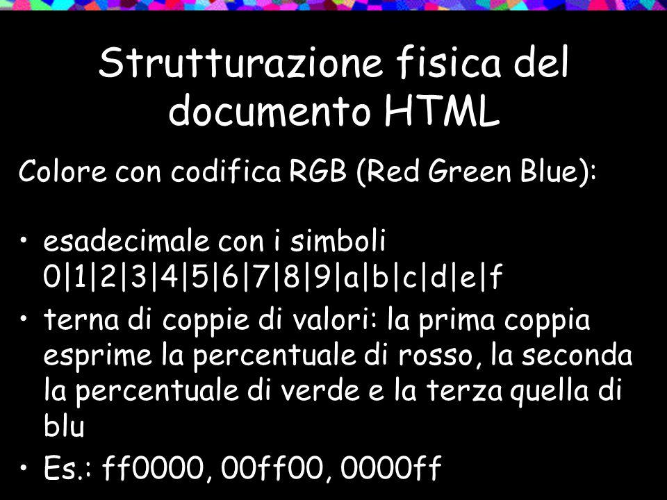 Strutturazione fisica del documento HTML Colore con codifica RGB (Red Green Blue): esadecimale con i simboli 0|1|2|3|4|5|6|7|8|9|a|b|c|d|e|f terna di coppie di valori: la prima coppia esprime la percentuale di rosso, la seconda la percentuale di verde e la terza quella di blu Es.: ff0000, 00ff00, 0000ff