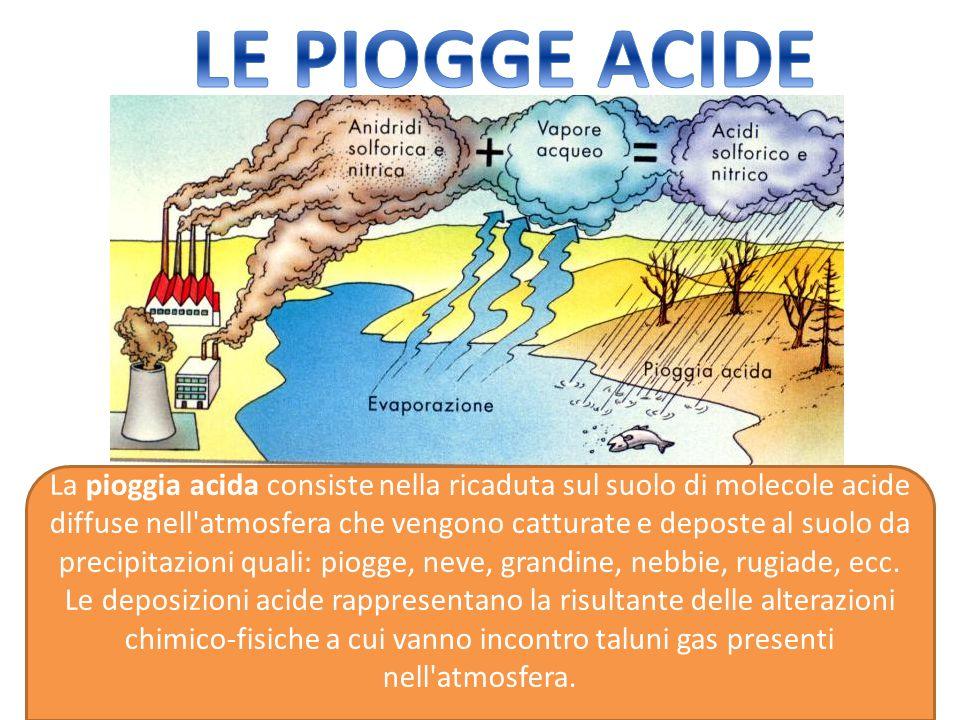 La pioggia acida consiste nella ricaduta sul suolo di molecole acide diffuse nell atmosfera che vengono catturate e deposte al suolo da precipitazioni quali: piogge, neve, grandine, nebbie, rugiade, ecc.