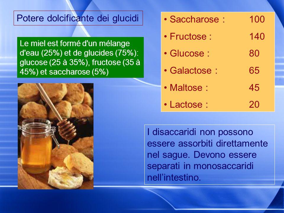 Potere dolcificante dei glucidi Saccharose :100 Fructose : 140 Glucose : 80 Galactose :65 Maltose :45 Lactose : 20 I disaccaridi non possono essere as