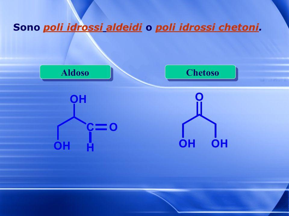 Sono poli idrossi aldeidi o poli idrossi chetoni. OH O OHOH OH C H O AldosoChetoso