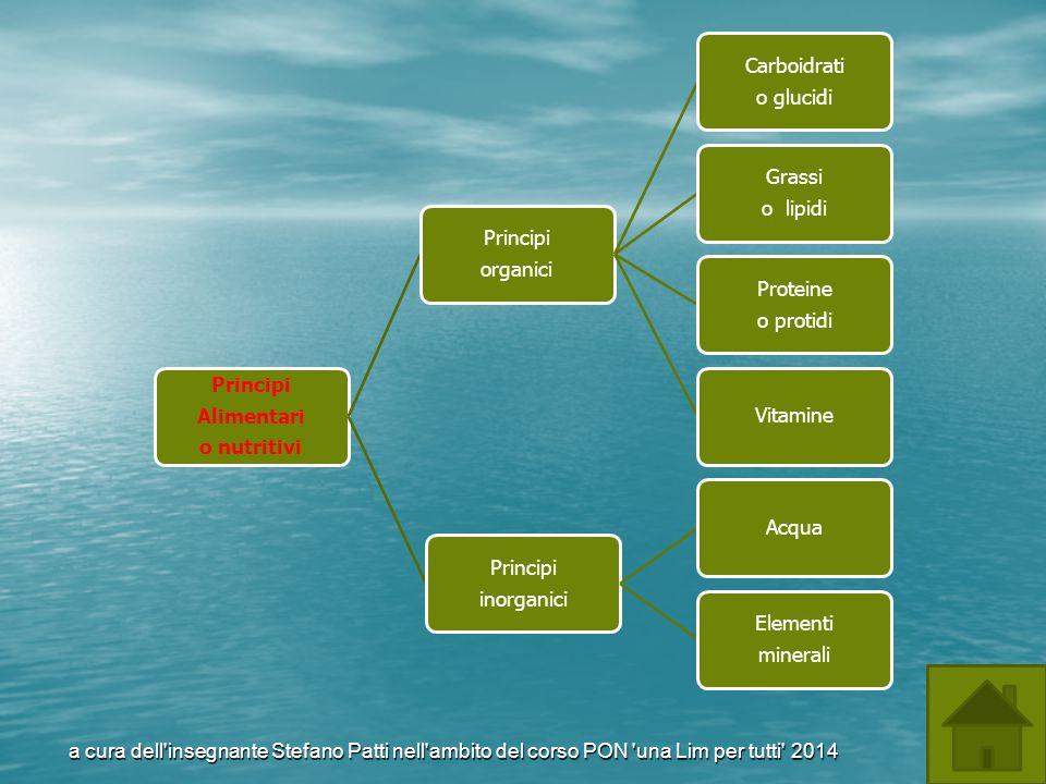 Principi Alimentari o nutritivi Principi organici Carboidrati o glucidi Grassi o lipidi Proteine o protidi Vitamine Principi inorganici Acqua Elementi