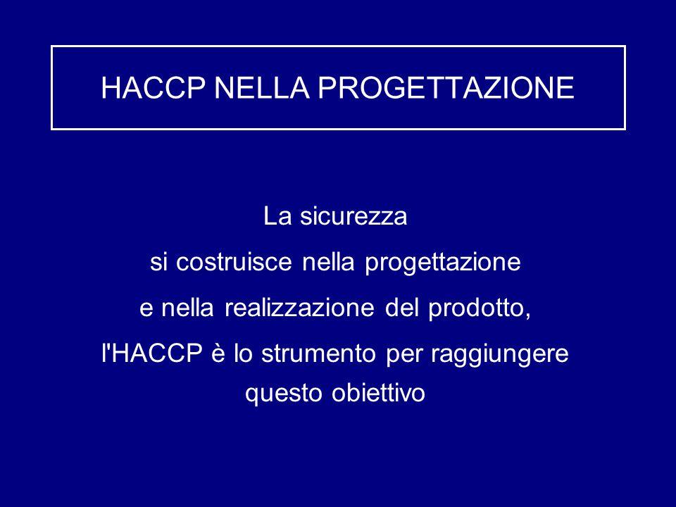 HACCP NELLA PROGETTAZIONE La sicurezza si costruisce nella progettazione e nella realizzazione del prodotto, l'HACCP è lo strumento per raggiungere qu