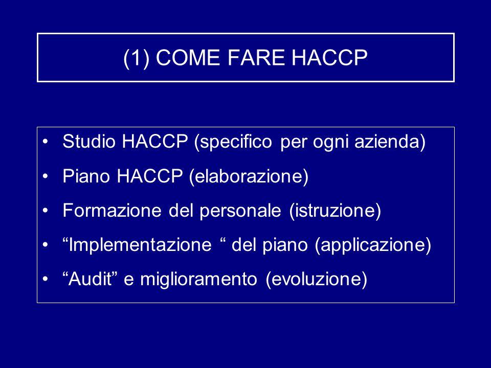 """(1) COME FARE HACCP Studio HACCP (specifico per ogni azienda) Piano HACCP (elaborazione) Formazione del personale (istruzione) """"Implementazione """" del"""