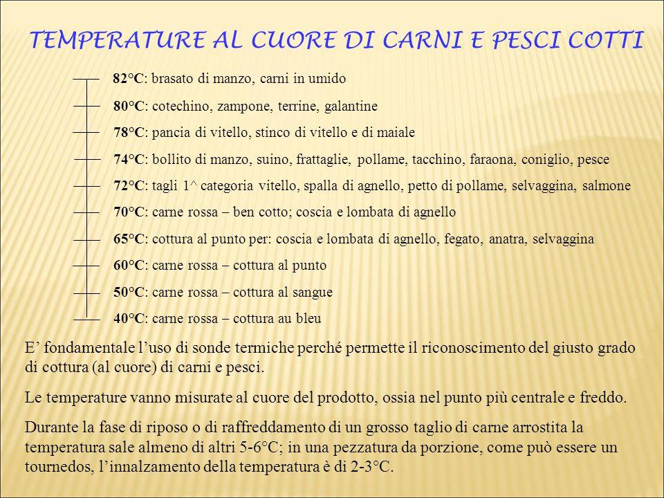 TEMPERATURE AL CUORE DI CARNI E PESCI COTTI 82°C: brasato di manzo, carni in umido 80°C: cotechino, zampone, terrine, galantine 78°C: pancia di vitell