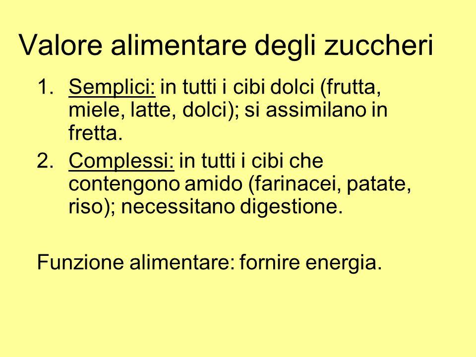 Valore alimentare degli zuccheri 1.Semplici: in tutti i cibi dolci (frutta, miele, latte, dolci); si assimilano in fretta. 2.Complessi: in tutti i cib