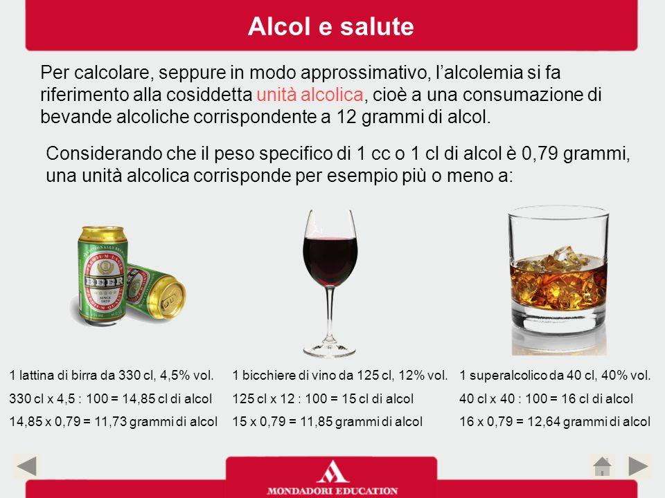 1 lattina di birra da 330 cl, 4,5% vol. 330 cl x 4,5 : 100 = 14,85 cl di alcol 14,85 x 0,79 = 11,73 grammi di alcol 1 superalcolico da 40 cl, 40% vol.
