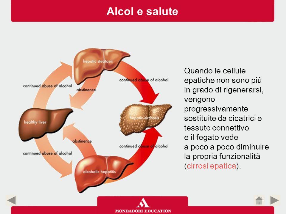 Quando le cellule epatiche non sono più in grado di rigenerarsi, vengono progressivamente sostituite da cicatrici e tessuto connettivo e il fegato ved