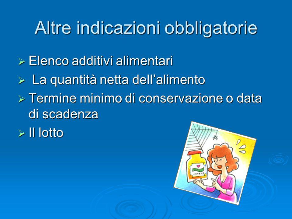 Altre indicazioni obbligatorie  Elenco additivi alimentari  La quantità netta dell'alimento  Termine minimo di conservazione o data di scadenza  Il lotto