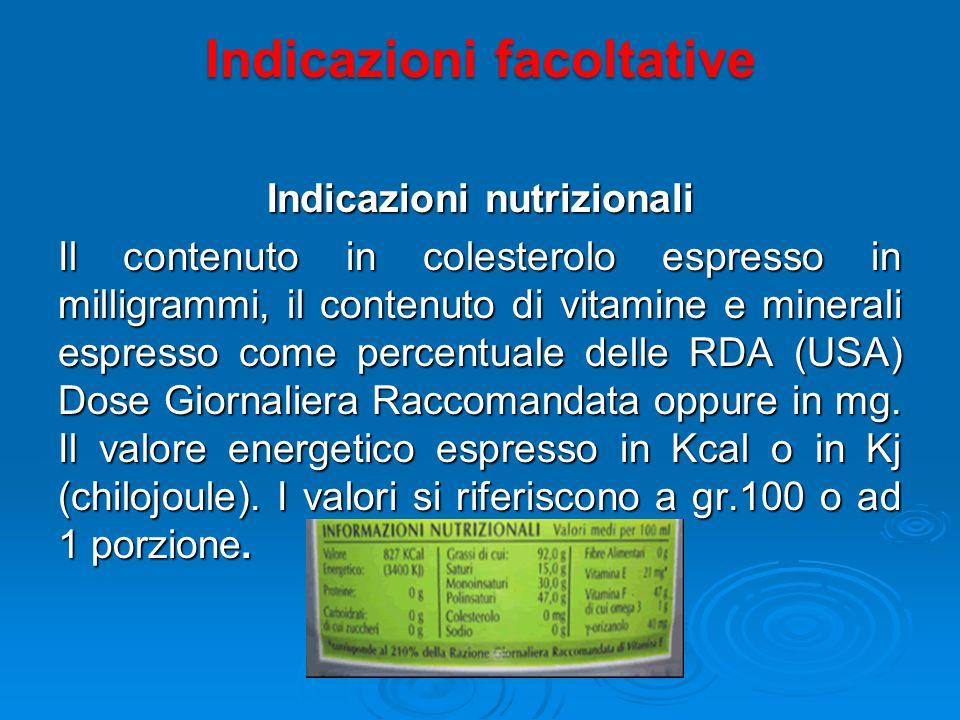 Indicazioni nutrizionali Il contenuto in colesterolo espresso in milligrammi, il contenuto di vitamine e minerali espresso come percentuale delle RDA (USA) Dose Giornaliera Raccomandata oppure in mg.