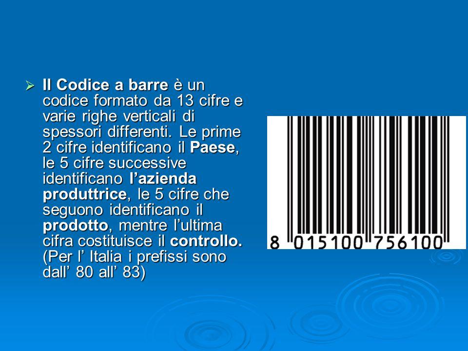  Il Codice a barre è un codice formato da 13 cifre e varie righe verticali di spessori differenti. Le prime 2 cifre identificano il Paese, le 5 cifre