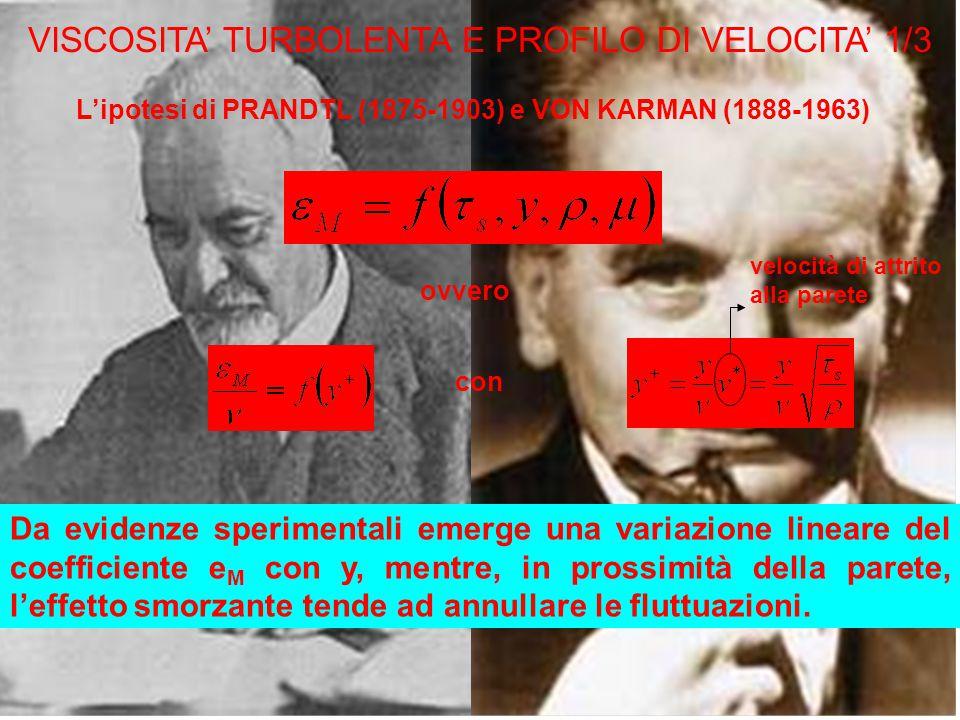 VISCOSITA' TURBOLENTA E PROFILO DI VELOCITA' 1/3 L'ipotesi di PRANDTL (1875-1903) e VON KARMAN (1888-1963) ovvero con velocità di attrito alla parete