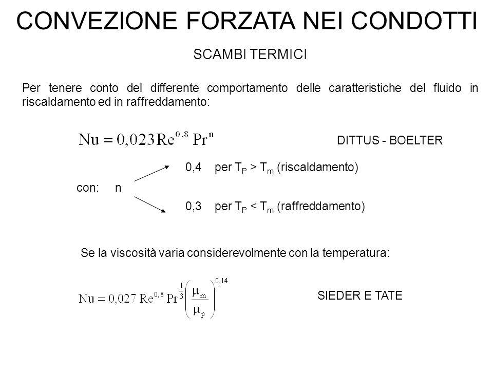 CONVEZIONE FORZATA NEI CONDOTTI SCAMBI TERMICI Per tenere conto del differente comportamento delle caratteristiche del fluido in riscaldamento ed in r