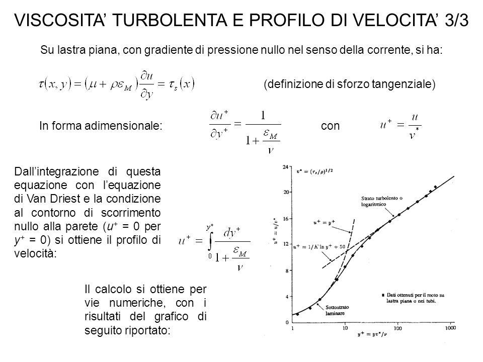 DIFFUSIVITA' TURBOLENTA E PROFILO DI TEMPERATURA 1/2 Le osservazioni di REYNOLDS (1842-1912) mettono in luce che le fluttuazioni turbolente originano trasporto di calore e di quantità di moto, evidenziando la similitudine tra i due processi: e definendo l'analogia di Reynolds diventa: Dati sperimentali mostrano che in realtà: Con questa relazione e con la si ricava il profilo di temperatura turbolento Con le ipotesi di: modesti gradienti di pressione; termini convettivi trascurabili.