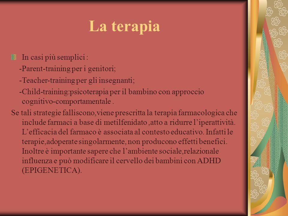 La terapia In casi più semplici : -Parent-training per i genitori; -Teacher-training per gli insegnanti; -Child-training:psicoterapia per il bambino c