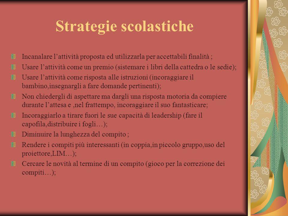 Strategie scolastiche Incanalare l'attività proposta ed utilizzarla per accettabili finalità ; Usare l'attività come un premio (sistemare i libri dell