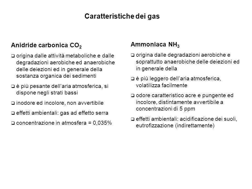 Anidride carbonica CO 2  origina dalle attività metaboliche e dalle degradazioni aerobiche ed anaerobiche delle deiezioni ed in generale della sostanza organica dei sedimenti  è più pesante dell'aria atmosferica, si dispone negli strati bassi  inodore ed incolore, non avvertibile  effetti ambientali: gas ad effetto serra  concentrazione in atmosfera = 0,035% Ammoniaca NH 3  origina dalle degradazioni aerobiche e soprattutto anaerobiche delle deiezioni ed in generale della  è più leggero dell'aria atmosferica, volatilizza facilmente  odore caratteristico acre e pungente ed incolore, distintamente avvertibile a concentrazioni di 5 ppm  effetti ambientali: acidificazione dei suoli, eutrofizzazione (indirettamente) Caratteristiche dei gas