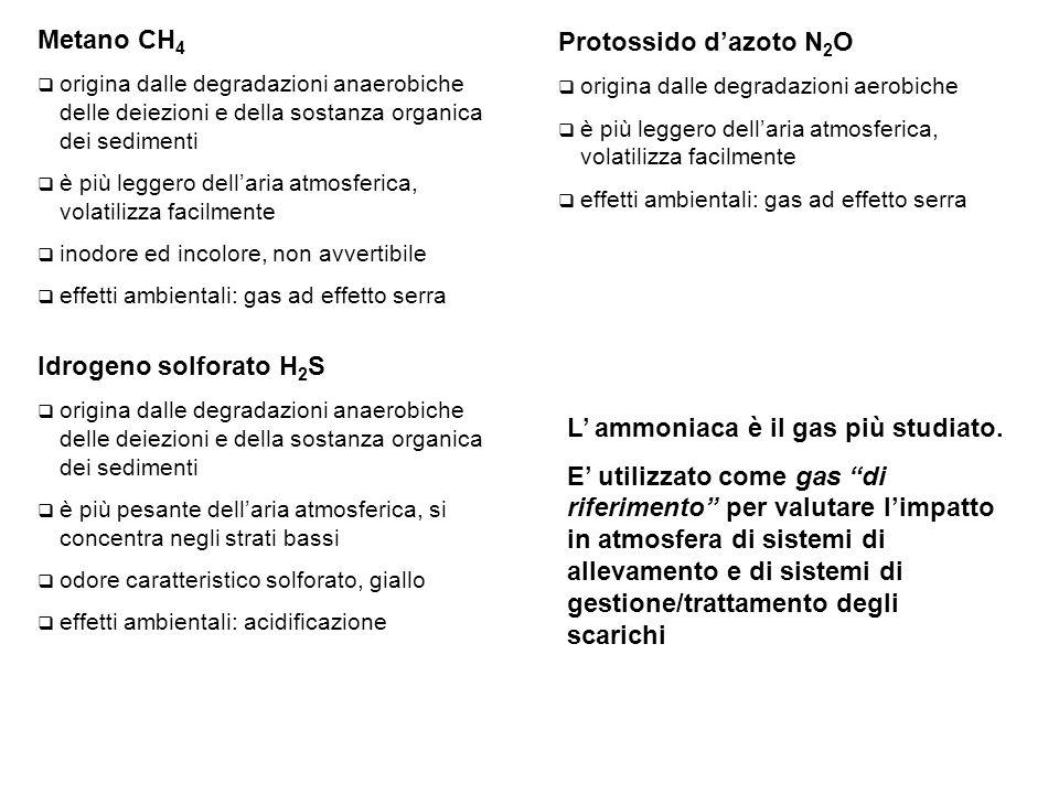 Metano CH 4  origina dalle degradazioni anaerobiche delle deiezioni e della sostanza organica dei sedimenti  è più leggero dell'aria atmosferica, volatilizza facilmente  inodore ed incolore, non avvertibile  effetti ambientali: gas ad effetto serra Protossido d'azoto N 2 O  origina dalle degradazioni aerobiche  è più leggero dell'aria atmosferica, volatilizza facilmente  effetti ambientali: gas ad effetto serra Idrogeno solforato H 2 S  origina dalle degradazioni anaerobiche delle deiezioni e della sostanza organica dei sedimenti  è più pesante dell'aria atmosferica, si concentra negli strati bassi  odore caratteristico solforato, giallo  effetti ambientali: acidificazione L' ammoniaca è il gas più studiato.