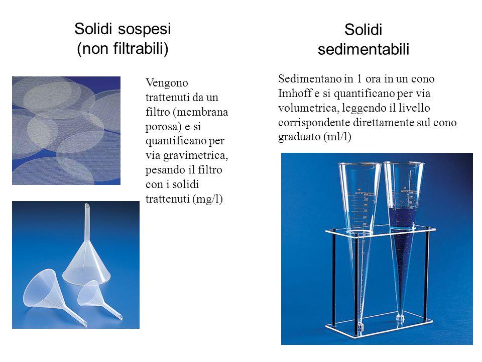 Solidi sospesi (non filtrabili) Solidi sedimentabili Vengono trattenuti da un filtro (membrana porosa) e si quantificano per via gravimetrica, pesando il filtro con i solidi trattenuti (mg/l) Sedimentano in 1 ora in un cono Imhoff e si quantificano per via volumetrica, leggendo il livello corrispondente direttamente sul cono graduato (ml/l)
