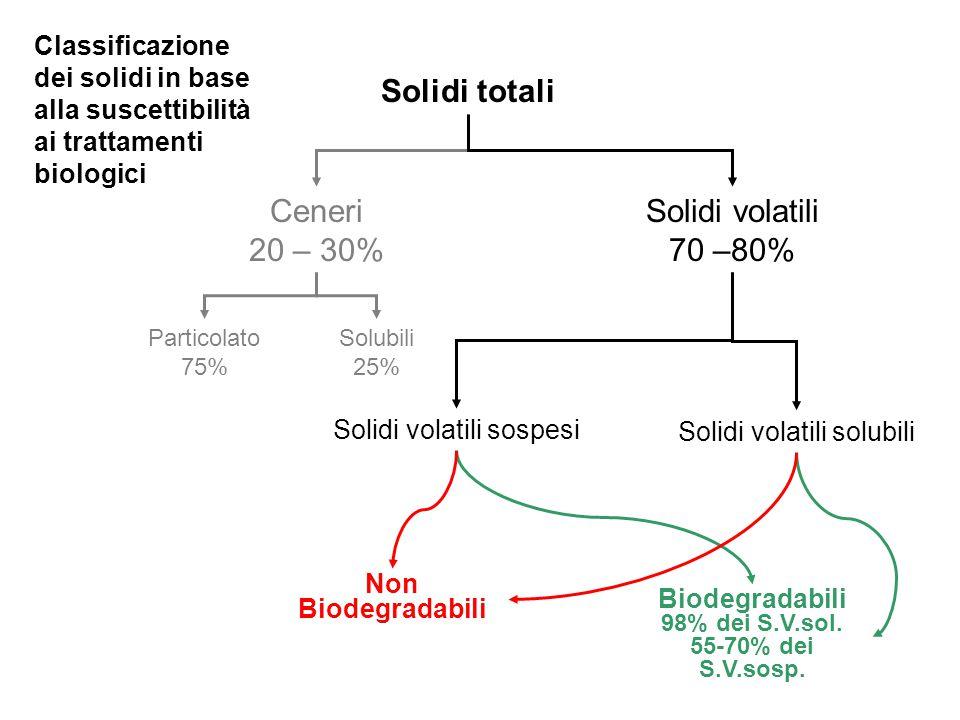 Solidi totali Ceneri 20 – 30% Solidi volatili 70 –80% Solidi volatili sospesi Solidi volatili solubili Solubili 25% Particolato 75% Biodegradabili 98%