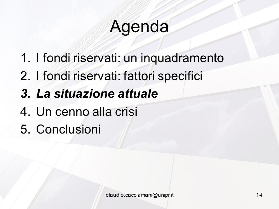 1.I fondi riservati: un inquadramento 2.I fondi riservati: fattori specifici 3.La situazione attuale 4.Un cenno alla crisi 5.Conclusioni Agenda 14clau