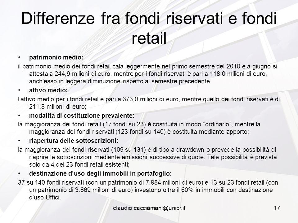 patrimonio medio: il patrimonio medio dei fondi retail cala leggermente nel primo semestre del 2010 e a giugno si attesta a 244,9 milioni di euro, mentre per i fondi riservati è pari a 118,0 milioni di euro, anch'esso in leggera diminuzione rispetto al semestre precedente.