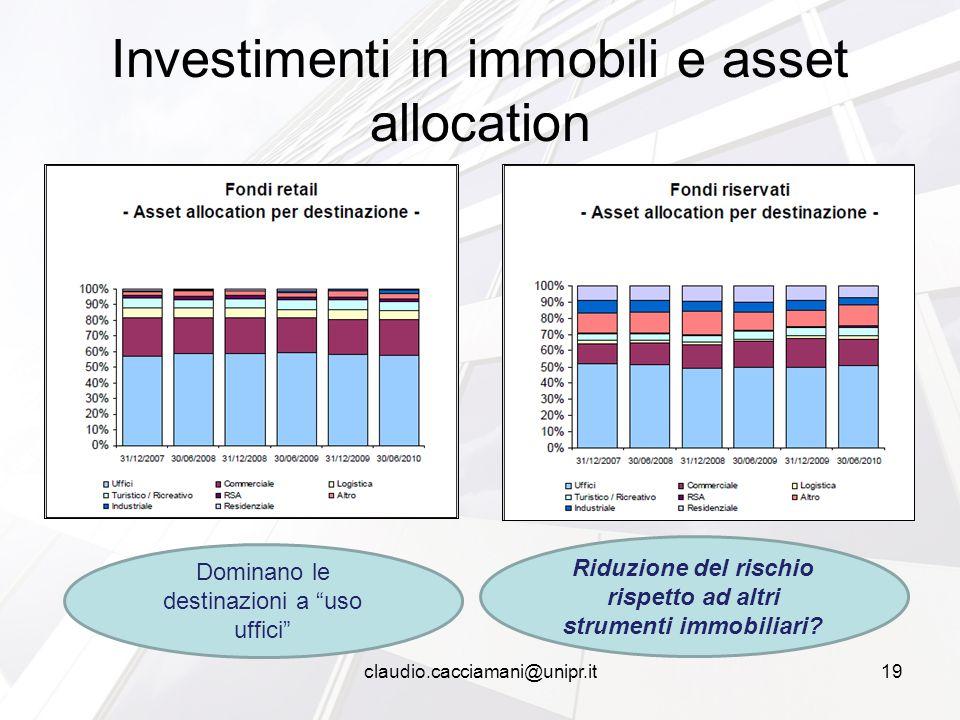 Investimenti in immobili e asset allocation Dominano le destinazioni a uso uffici Riduzione del rischio rispetto ad altri strumenti immobiliari.